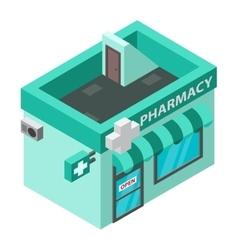 Pharmacy isometric building isolated vector