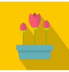 Pink tulips in planter icon flat style vector