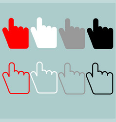 Pointing hand red black grey white icon vector