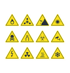 road signs set yellow warning symbols danger of vector image