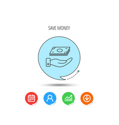 save money icon hand with cash sign vector image