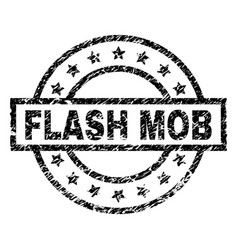 Scratched textured flash mob stamp seal vector