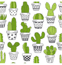 Seamless pattern with green cactus in pots vector