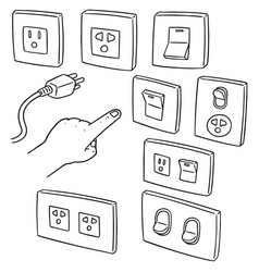 Set electric switch and plug vector
