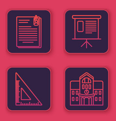 Set line file document and paper clip triangular vector