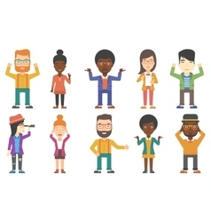 Set of business characters vector