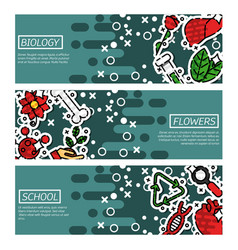 set of horizontal banners about biology vector image
