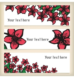 Set of horizontal banners with doodling flowers vector image