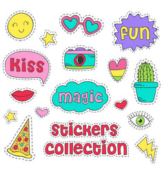 set of isolated funny stickers vector image
