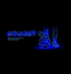 Soccer blue neon banner vector