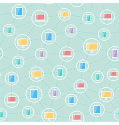 social network devices pattern vector image