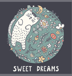 sweet dreams card with a cute sleeping cat vector image