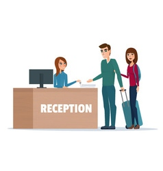 Tourists at hotel reception Business cartoon vector image