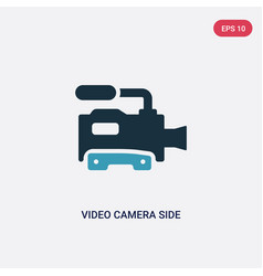 two color video camera side view icon from vector image