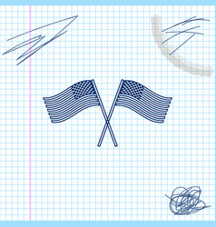two crossed american waving flags line sketch icon vector image
