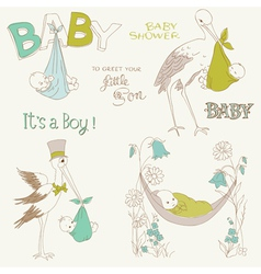 vintage baby boy shower vector image