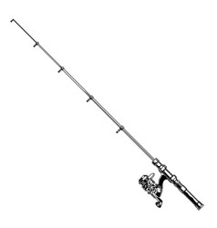 Vintage fishing rod with spinning reel vector