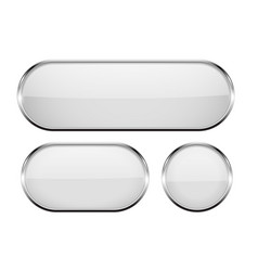 White oval glass buttons with metal frame set of vector