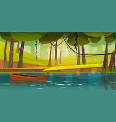 Wooden boat float on forest lake pond or river vector