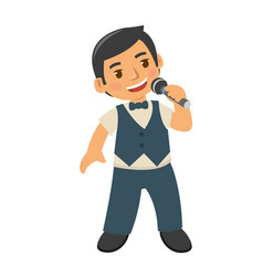Young boy kids singing with pride vector