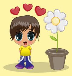 anime boy vector image