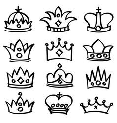 luxury doodle queen crowns sketch vector image