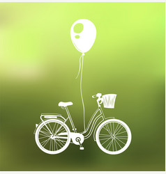 retro bicycle with air balloon isolated on green vector image vector image
