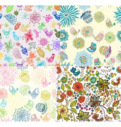 Set of seamless background with flowers and birds vector image