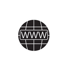 Www and globe internet solid icon website browser vector