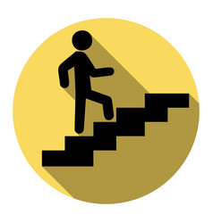 man on stairs going up flat black icon vector image