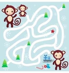 Set of funny brown monkey on light blue background vector image