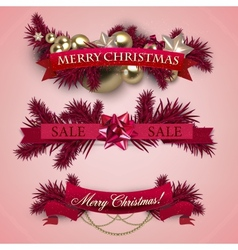 Set of Ribbons Labels Tags Merry Christmas and vector image