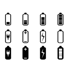 black battery icons set vector image vector image