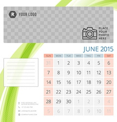 Calendar 2015 June template with place for photo vector image