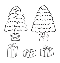 Christmas tree and presents collection vector image