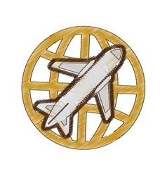drawing airplane global travel business vacation vector image vector image