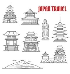 Japan travel landmarks thin line icons vector image vector image