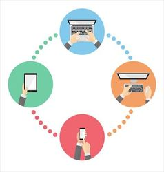 Social media with devices vector image
