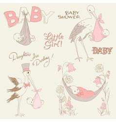 vintage baby girl shower vector image