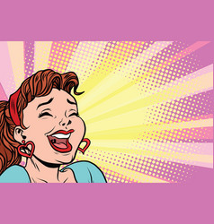 young woman laughs style pop art poster vector image