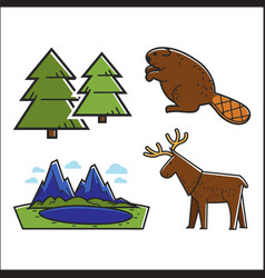 animals and forest set vector image