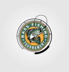 bass fishing tournament logo design monster fish vector image