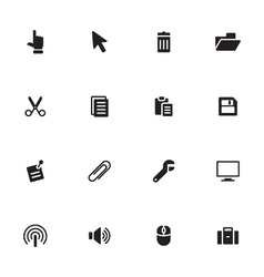Black simple flat icon set 3 vector