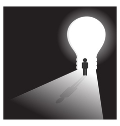 Businessman in front of a bright light bulb door vector