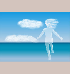 child running to the sea vector image