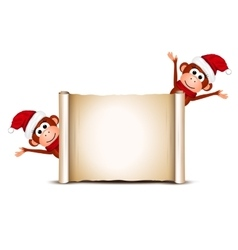 Christmas card with funny monkeys vector image