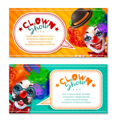 Circus clown show 2 horizontal banners vector