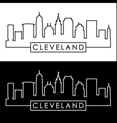 Cleveland linear skyline line art editable file vector