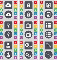 Cloud Lock Hard drive Checkpoint Retro TV List vector
