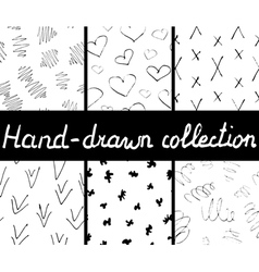Collection of ink hand drawn seamless patterns vector